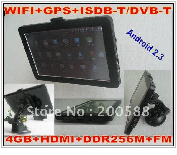 on sale 7 inch tablet pc GPS DVB-T ISDB-T tv digital android 2.3 with wifi GPS HDMI tablet 4g rom with latest maps(China (Mainland))