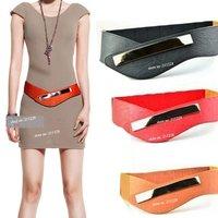 2014 Fashion Womens Cowskin Metal Mirror Elastic Waist Belt  , Vintage Genuine Leather Wide Black Red Dress  Belts For Women