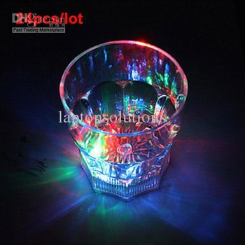 Wholesale - 24PCS/LOT Novelty Colorful LED Flash Flashing Cup Night bar Wedding Beverage Wine, birthday party, Dance,Christmas