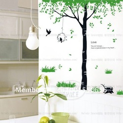 Natural Green Tree New Fashion DIY Removable PVC Wall Stickers Decals Wall Art Sheet size:60*90CM(China (Mainland))