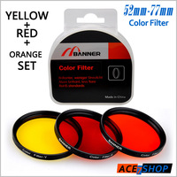 58mm Yellow+Red+Orange 3pcs Color Lens Filter Set For Canon EOS Rebel T3i T2i 550D 600D 1000D 18-55mm Nikon AF-S 55-300