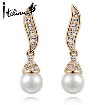 Italina RAG 2014 New Arrival 18K Gold Plated Elegant Drop Brincos With Rhinestone Pearl Jewelry Nickel Free #RA20783