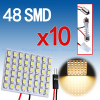 10pcs  48 SMD Panel Blue T10 BA9S Festoon Dome 48 LED Light  Interior Bulb Lamp Pure White W5W 12v Parking Car Light Source Free