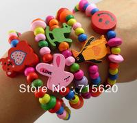 15x Kids Wood Bracelets Children  Wristbands 15 design Mix Wholesale Birthday Party Gift Jewelry