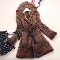 Chopop Mink knitted fur coat long design mink clothes fur overcoat hooded women EMS Free Shipping