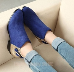 Fashion vintage navy blue all-match pointed toe buckle color block decoration leather velvet ankle boots martin boots women(China (Mainland))