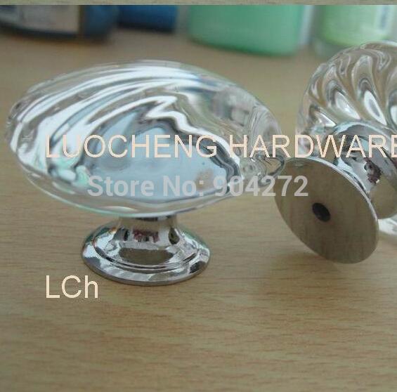 20PCS/LOT FREE SHIPPING SHELL CLEAR CRYSTAL KNOBS GLASS KNOBS ON ZINC ALLOY BASE POLISHED CHROME FINISH(China (Mainland))