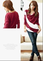 Free shipping 2012 women sweater T-shirts Fashion Spliced pullovers women's clothing long-sleeved Unique spell T-shirt 2205