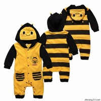 FREE SHIPPING NEW Baby / Infant Long Sleeve Clothes / Romper with Hat BEE style 0~12months