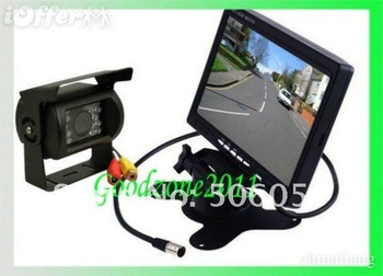 "Free shipping DHL 20 PCS NEW 7"" LCD Monitor+18 IR Reverse Camera Car Rear View Kit car camera free 10m cable"