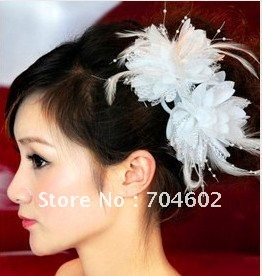 New Arrivals Hair accessories High-grade feather flower hair clip Fabric flower brooch 50pcs/lot Free Shipping F16