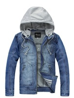 Men's casual cotton cowboy jacket / jean coat with removable hoodie free shipping