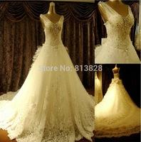 2014 Plus Size Sparkling Crystal Wedding Dress Sexy Luxury Big Train Wedding Dress 2014 Bridal Wedding Gown Vestido De Novia