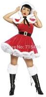 Free Newly Design Cheap Ladies Christmas Apparel Wholesale North Pole Mini Party Sexy Santa Costume Sexy Women Christmas Costume
