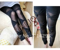 New Sexy Fashion Women's Lady Ripped Stretch Vintage Legging Pants Black Leggings FREE SIZE free shipping 4566
