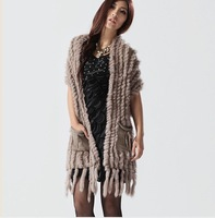 Genuine Knitted Rabbit Fur Vest tassels classic gilet coats sweater/OEM/Retail/Wholesale/female