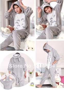 2012 NEW ARRIVALS!Free Shipping Japanese Anime KIGURUMI Totoro Cosplay Costume Pajamas Size S M L XL,Factory sales !