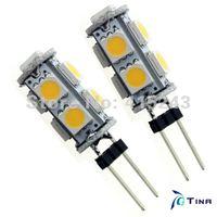 10pcs/lot G4 9 smd 5050 LED 12V DC Squre Shape Warm White/Day White  Car Light Bulbs Free Shipping
