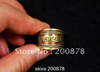 R115  Tibetan Red Brass Mantras man rings,Tibet Antiqued Metal OM MANI PADME HUM Amulet open Adjustable Ring