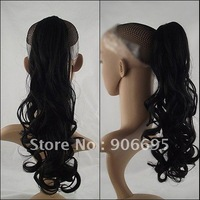 Black Claw Clip Ponytails hair pieces Wave Style Heat Resistant Synthetic Fiber 1# Black 20inch/50cm 100g Fashion Chrismas Gift