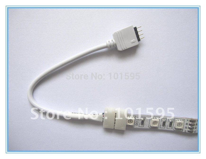 FREE SHIPPING 10pcs/lot LED Strip Connector with Cable For 5050 RGB Color 10mm 4pin , No Need Soldering(China (Mainland))