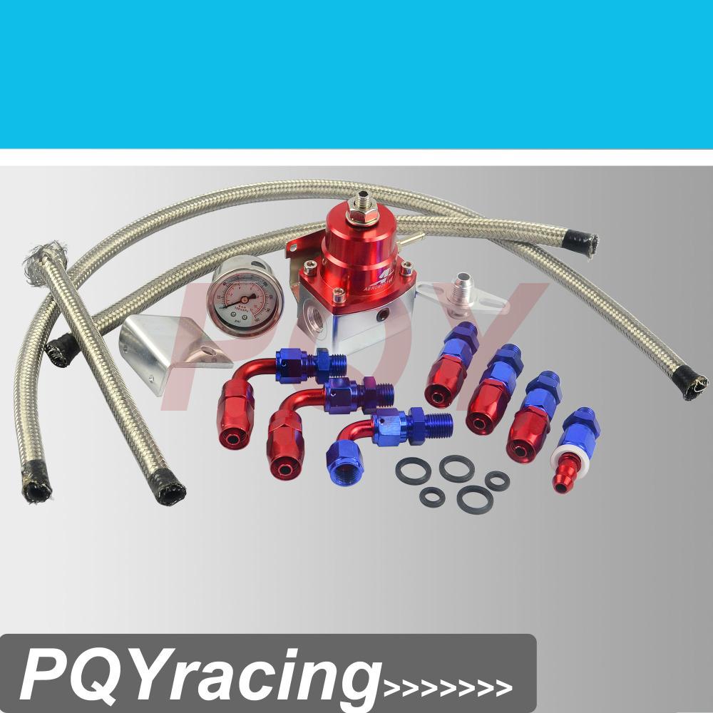 J2 Racing Store- AE style 7MGTE MKIII Fuel Pressure Regulator with hose line kits&Fittings&Gauge Red(China (Mainland))