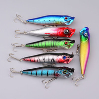 25pcs/lot Fishing Tackle 2013 Hot selling Popper Lure 5color 9.5cm/12g top fishing lure 4# high carbon steel anchor hook