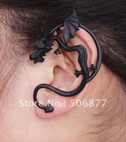 Women wholesale 50pcs Alchemy Gothic Stud Wrap Fly Dragon's Lure Party Fashion Ancient Black punk earrings,Goth Dragon Ear Cuff