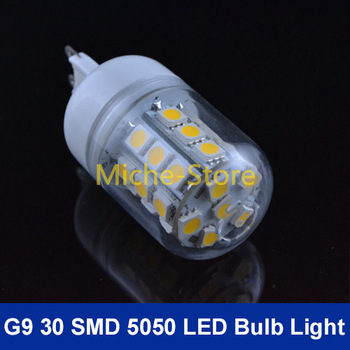 Wholesale New 7W Warm White/Cool White 360 Degree 5050 SMD 30 LED Bulb Lamp G9 Energy Saving AC 200V-240V Free Shipping
