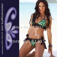 High Qaulity Solf Blace Lace Mini Swimwears Women Summer Free Shipping Green Leopard Print Fashion Bikinis Swimsuit