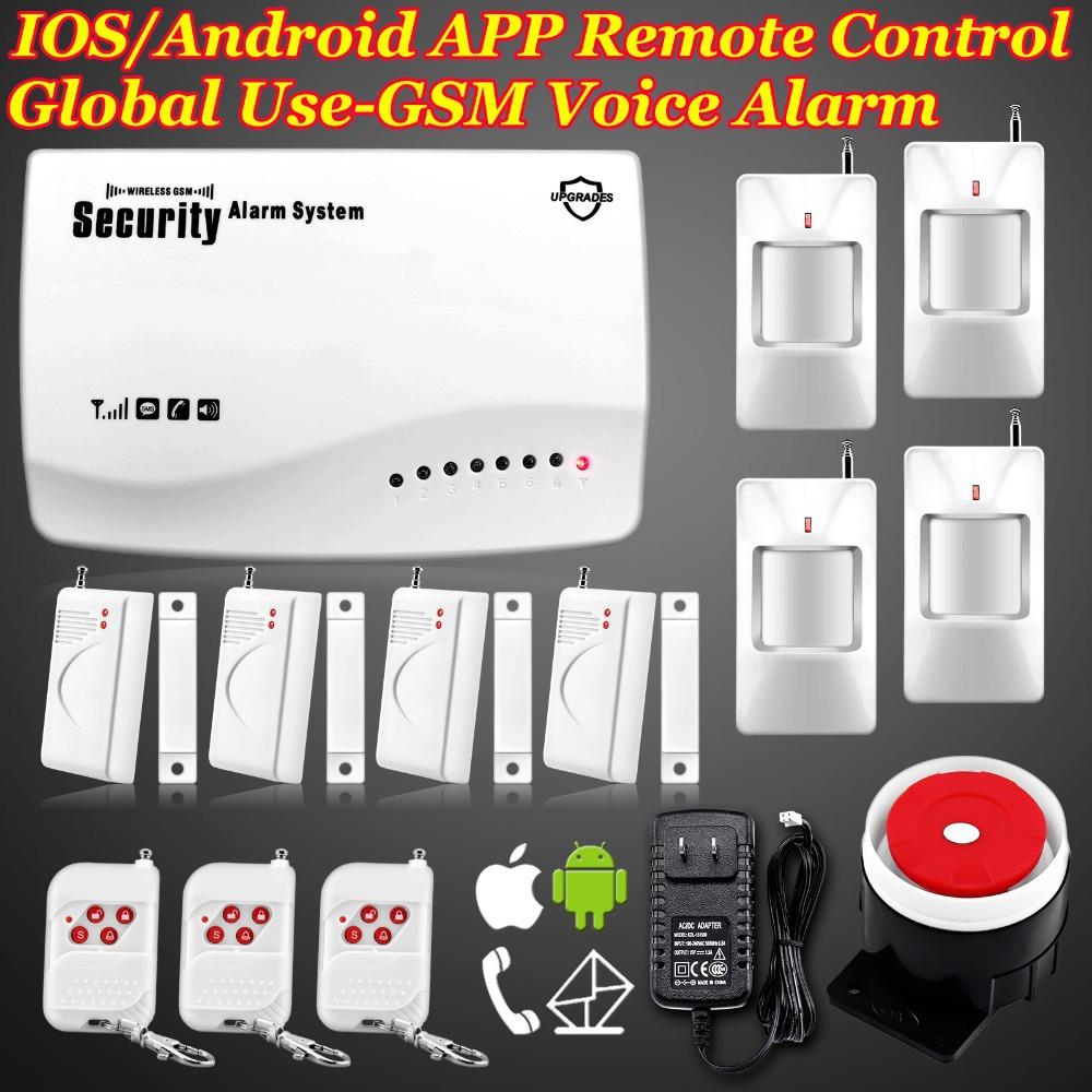 Livraison gratuite! 850/900/1800/1900 mhz sans fil à domicile gsm alarme vocale avec système de sécurité intégré- haut parleur pour l'interphonie de sécurité