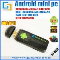 UG007II Mini PC with bluetooth Dual Core Android tv box RK3066 1.6GHz Cortex-A9 HDMI wifi dongle