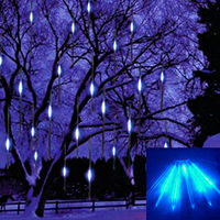 Blue Free Shipping 50CM/Tube 8 Tube 240LED Snowfall Meteor Rain Tube LED Lights Tree Garden Decoration Christmas Wedding Partys