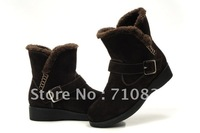 Women's winter thermal fashionable casual long plush boot Buckle wedges snow boots Genuine cowhide leather rubber sole 3colors