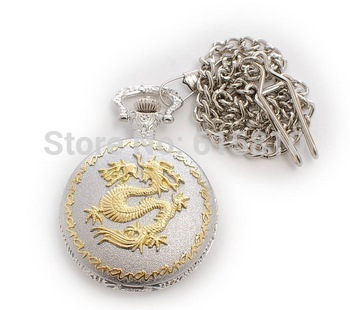 (WA008) Dragon carving cover pocket watch,wholesale,hot ,necklace fashion style new 5 colors vintage round man