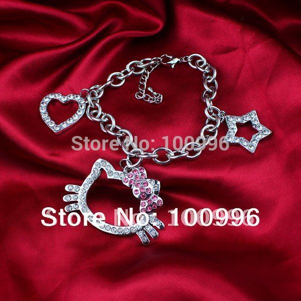 women New Wholesale cat star and heart charms Hello Kitty Bracelet with pink Bow Tone Nice Jewelry 4.5cm Width In girl Gift H30(China (Mainland))