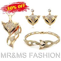 Free Shipping Wholesale 18K Full Rhinestone Luxury Charm Fox Necklace Earrings Bracelet Suit Fashion Women Fine Jewelry Set 1021