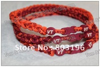 Free Shipping NCAA 3 Ropes Braid Virginia Tech Texas Longhorns Necklaces No Box Only Necklaces 100PCS/Lot