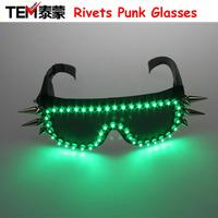 Multi-color LED glasses, rivets punk glasses, lady gaga sunglasses