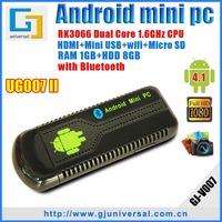 DHL EMS Freeshipping android wifi dongle tv box hdmi UG007II Mini PC with bluetooth Dual Core rockchip rk3066 cortex a9