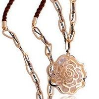 Min Order $10 Clear Crystals Necklace Long Rose Flower Pendant Women MN037 Magi Jewelry