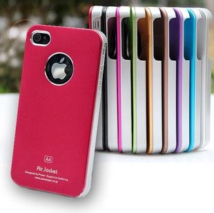 For iphone 4 4S metal case, aluminium+PC material, 1pcs a lot, free shipping+Wholesale with package box(China (Mainland))