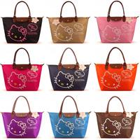 Free shipping Retails 2013 New hello kitty Waterproof handbag Women's fold shopping bag Fashion soft Shoulder bag Large size