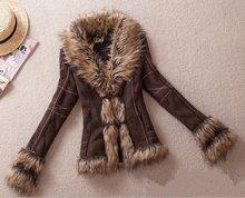 XS-XXL Autumn Winter New Plus Size European Style Super Retro FUR ONE Jacket Rabbit Fur Collar Slim Leather Jacket Free Shipping(China (Mainland))