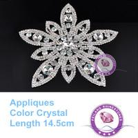 14.5cm Flower Applique High Quality Shiny Stones More Cheaper Crystal Sew on Rhinestones Applique
