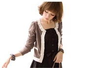 free shipping  lace cardigan small commuter coat coffee for lady  Q10070815