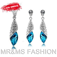 Free Shipping Hotselling Wholesale 18K GP White Gold Austrian Crystal Water Drop  18 King Of Colors  Fashion Jewelry Set 4156.