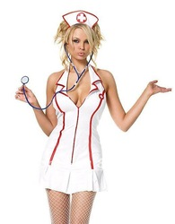 Free shipping ML5062 Sexy Adult Nurse Costume sets with Cap Sexy Girl Cosplay Uniform Dress(China (Mainland))