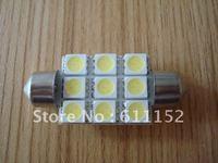 Free Hongkong post ! 9SMD festoon 5050 31mm/36mm/39mm Pure White  Festoon Car LED Dome Light Lamp Bulb