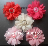 2012 New Style 200$ order be free ems Wedding flowers free shipping wholesale 3inch chiffon hair accessories(60pcs/5colors)